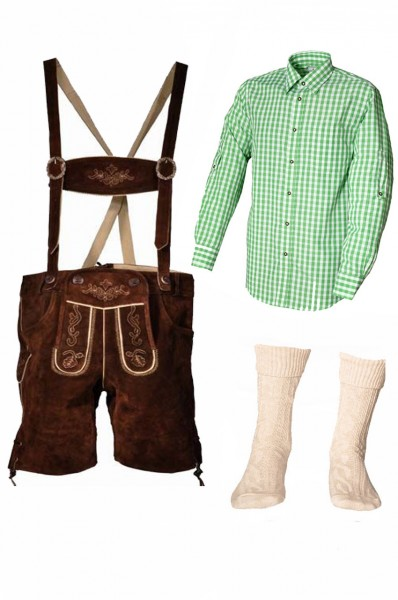Trachtenlederhosen-Set 4-tlg. kurz braun mit grünem Hemd