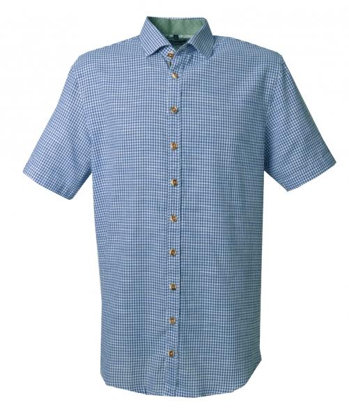 Trachtenhemd Apfeldorf blau kornblau Karo Kurzarm Regular Fit OS Trachten