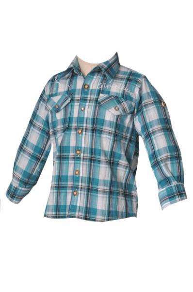 Kinder Trachtenhemd Ilias türkis langarm OS-Trachten