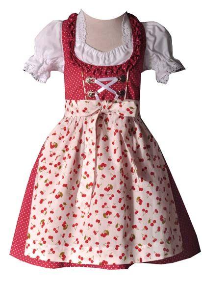 Kinderdirndl Chiara rot/weiss/Kirschen 3-tlg. Trachtenset
