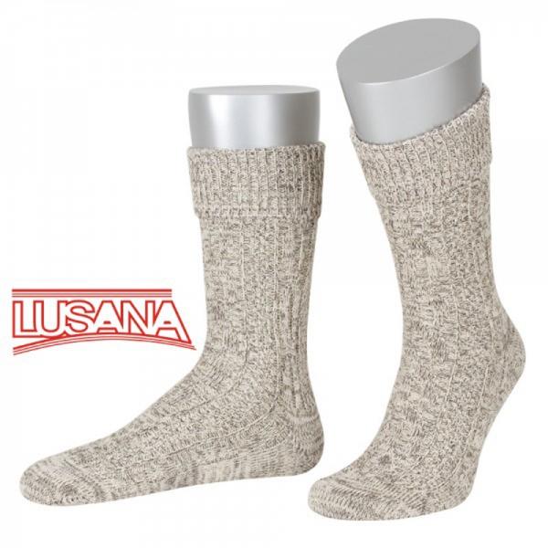 Trachtensocke Haundorf braun beige meliert Umschlag mit Zopf JD Socken