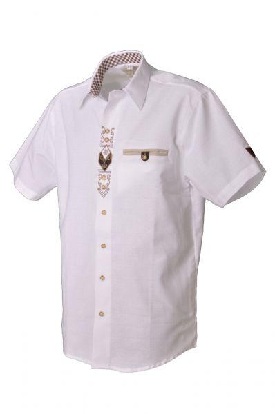 Trachtenhemd Ronald weiss Kurzarm OS Trachten