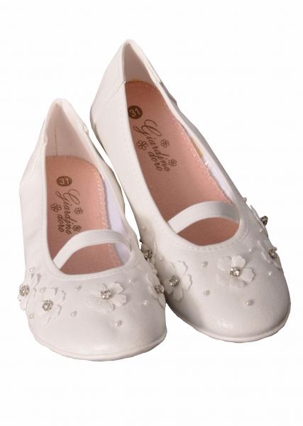Mädchen Trachtenschuhe Ballerina weiß