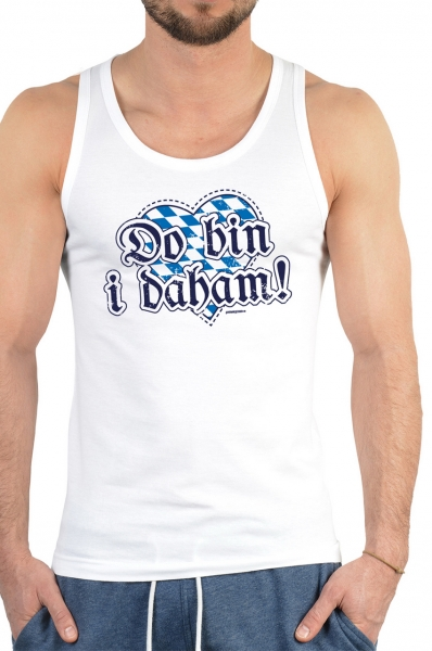 Trachten Tank Top Do bin i daham weiß