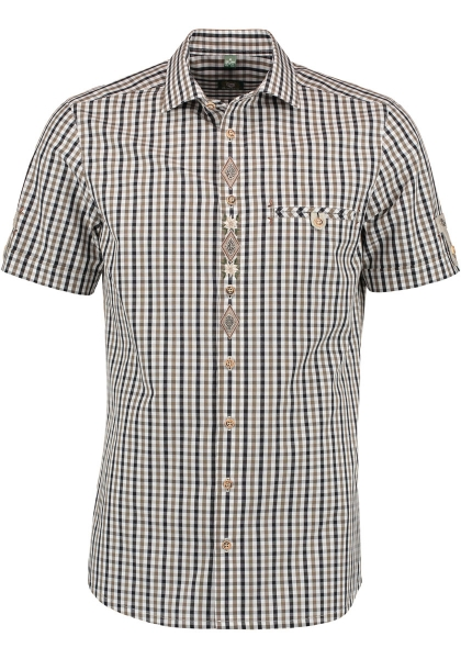 Trachtenhemd Läuterkofennatur braun/schwarz Karo Kurzarm OS Trachten