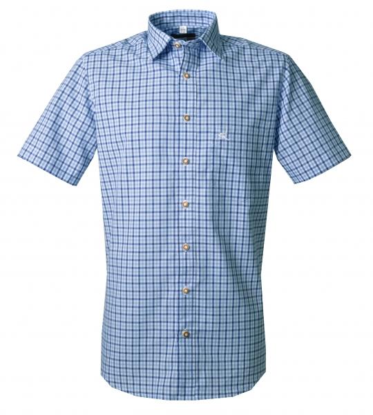 Trachtenhemd Berngau blau Karo Kurzarm Slim Fit OS Trachten