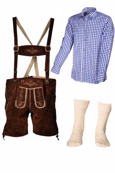 Trachtenlederhosen-Set 4-tlg. kurz braun mit blauem Hemd