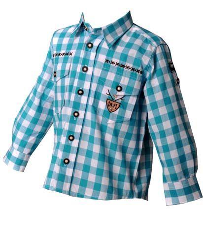 Kinder Trachtenhemd Andy türkis Langarm OS Trachten