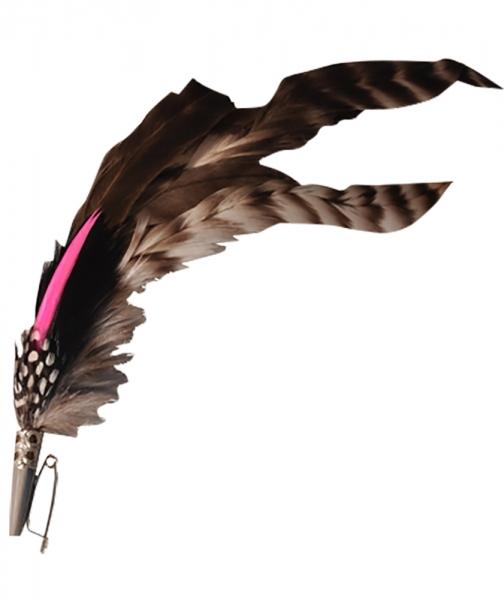 Hutfeder braun/pink lang
