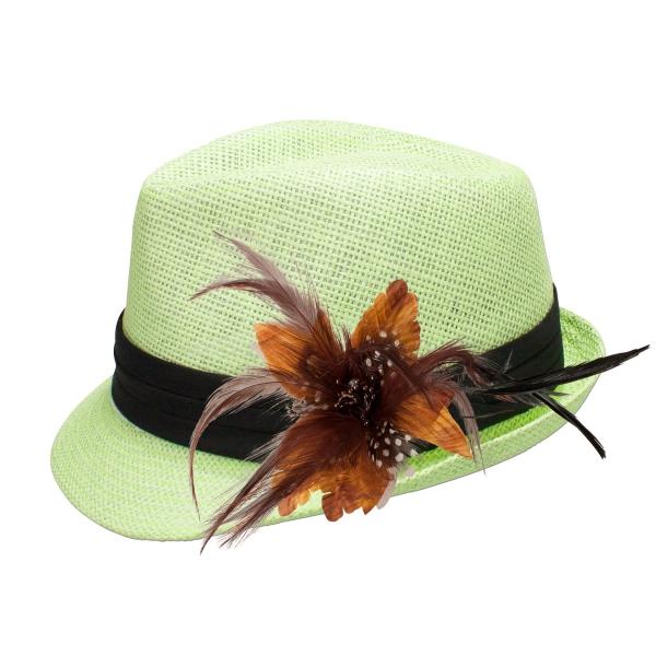 Trachten-Strohhut hellgrün Feder-Clip braun