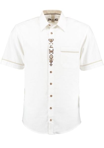 Trachtenhemd Rödelmaier weiß Kurzarm Stickerei OS Trachten