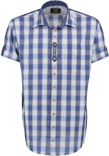 Trachtenhemd Spardorf kornblau blau Karo Kurzarm OS Trachten