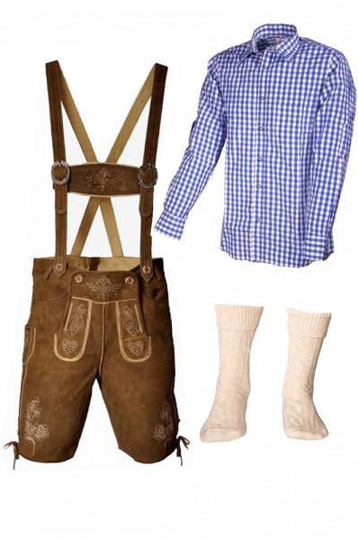 Trachtenlederhosen-Set 4-tlg. kurz hellbraun mit blauem Hemd von Fuchs