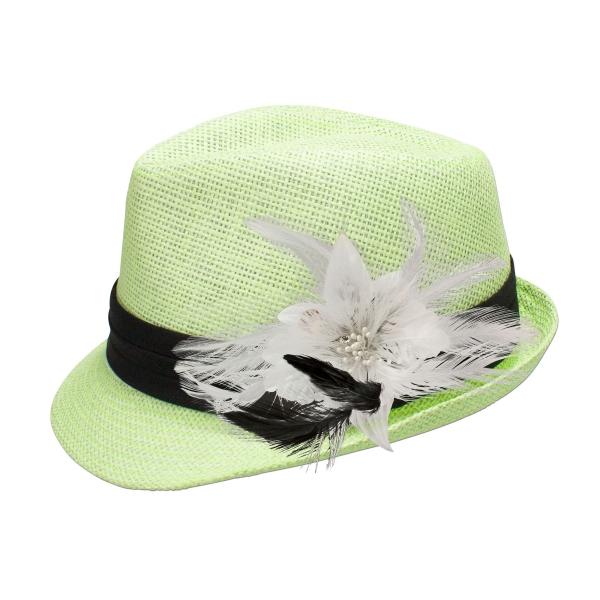 Trachten-Strohhut hellgrün Feder-Clip weiß