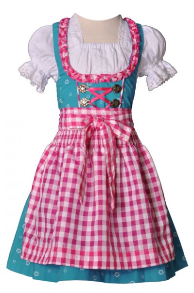 Kinderdirndl Anna türkis pink 3-tgl. Trachtenset