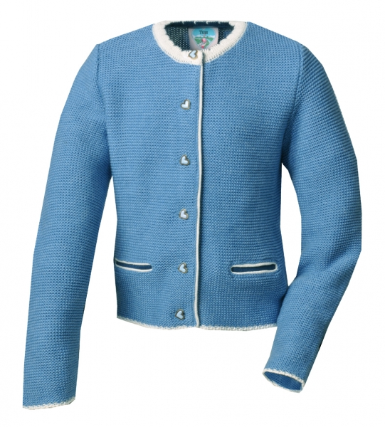 Kinder-Strickjacke Chrisi jeans blau / wollweiß Turi