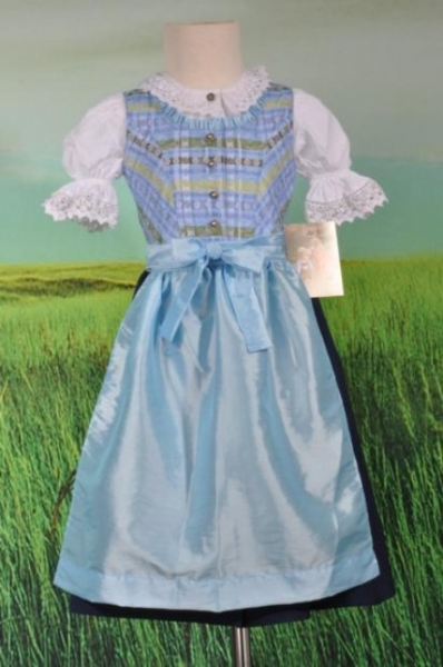 Kinderdirndl Selina blau 3-tlg. Isar Trachten
