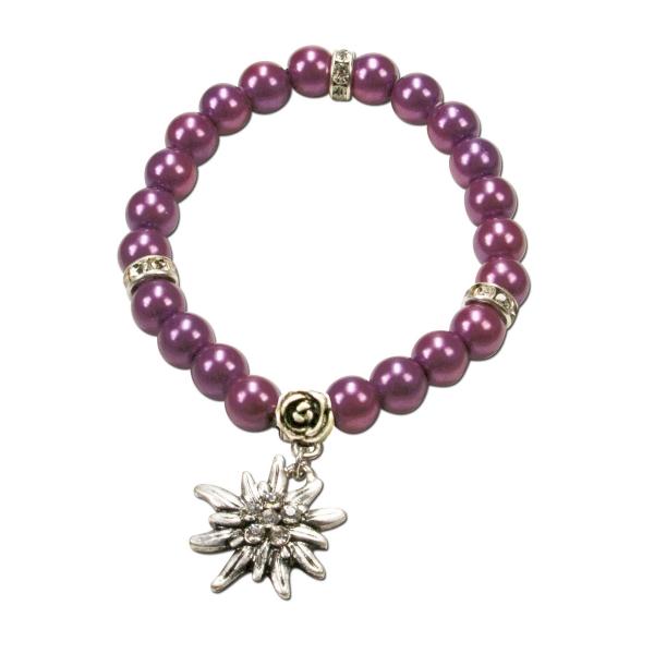 Trachten Armband Segnitz Edelweiß lila Wachsperlen