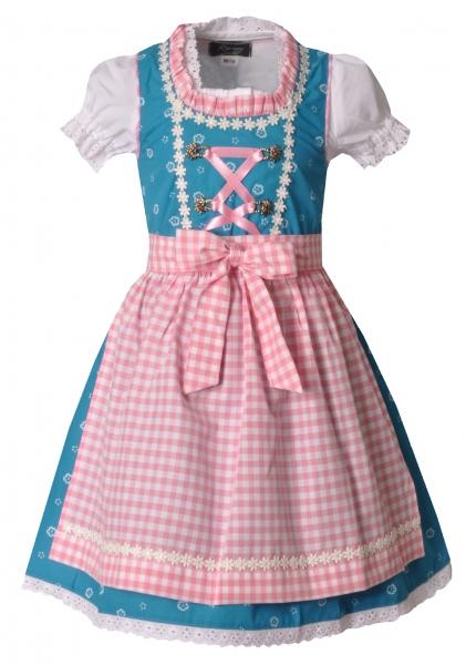 Kinderdirndl Pfarrweisach blau/rosa 3-tlg. Trachtenset