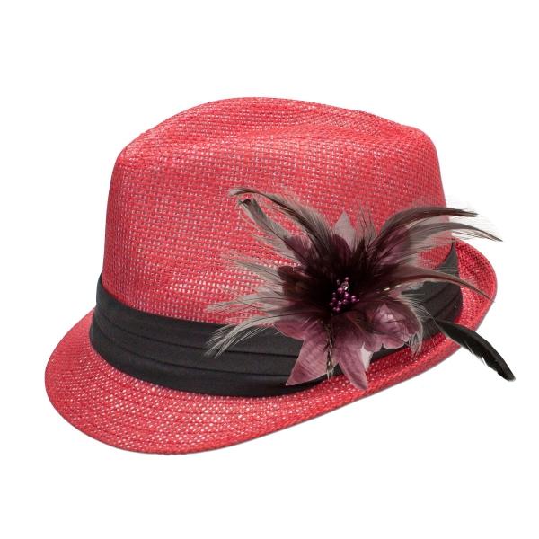 Trachten-Strohhut rot Feder-Clip helles lila