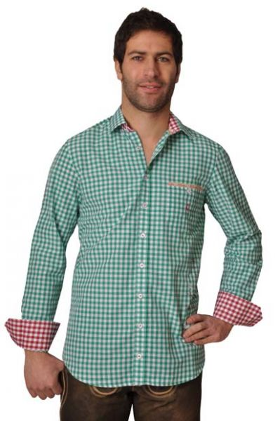 Trachtenhemd Aaron Langarm grün Karo Slim Fit OS Trachten