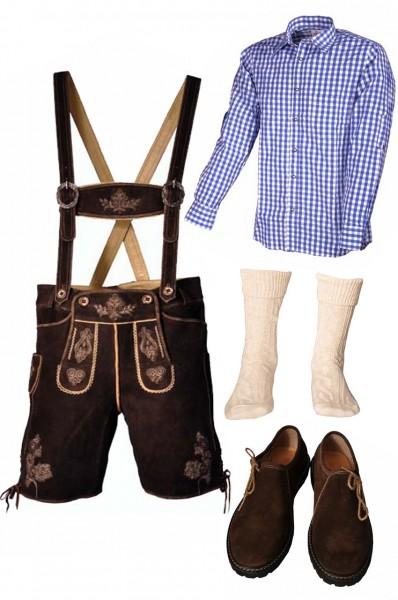 Trachtenlederhosen-Set 5-tlg. kurz dunkelbraun mit blauem Hemd und Schuhen von Fuchs