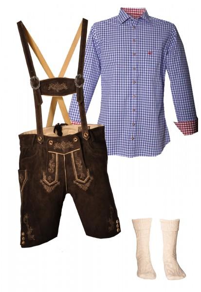 Trachtenlederhosen-Set 4-tlg. kurz urig antik von Stockerpoint mit blauem Hemd von OS Trachten