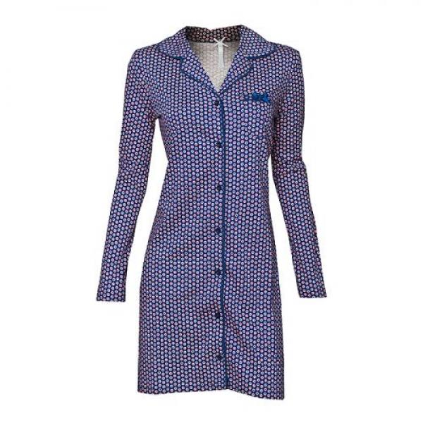 Trachten Nachthemd Zeit für mich blau/Herzchenprint Knopfleiste Louis & Louisa