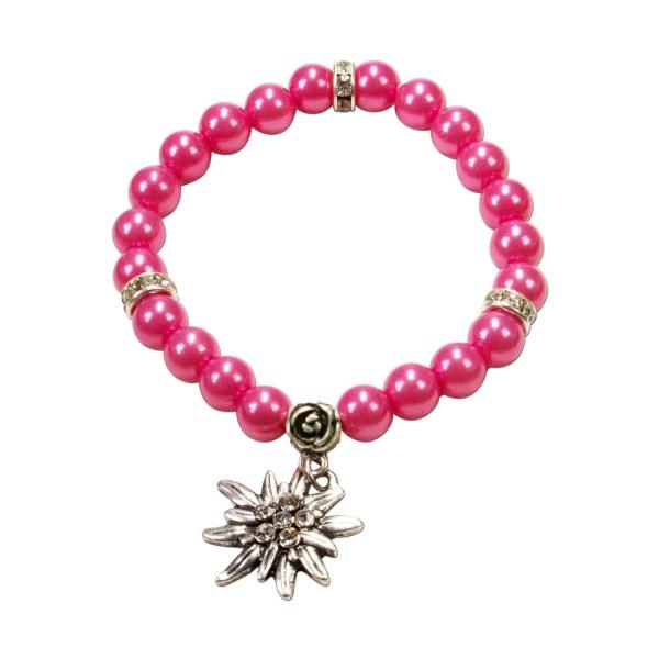 Trachten Armband Segnitz Edelweiß pink Wachsperlen