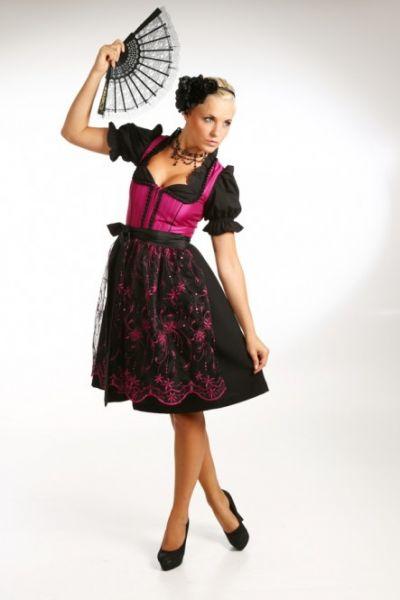 Dirndl midi 60 cm Cora schwarz/pink Fuchs