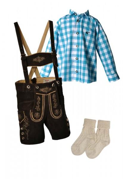 Kinder Trachtenlederhosen-Set 4-tlg. kurz dunkelbraun von Lekra mit türkisem Hemd von OS Trachten