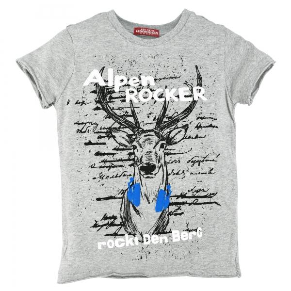"""Kinder T-Shirt """"Alpen Rocker rockt den Berg"""" grau meliert Kurzarm Bondi"""
