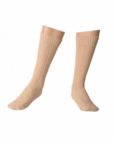 Trachtensocken Trachten Socken Raubling beige Zopfmuster