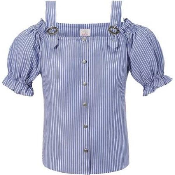 B-Ware / 2. Wahl - Trachten Bluse blau A-linie