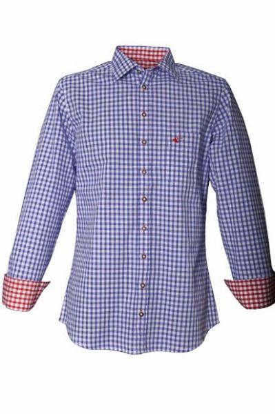 Trachtenhemd John blau Karo Langarm OS Trachten
