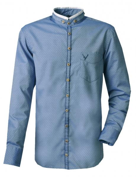 Trachtenhemd Aitrang blau jeansblau Gipfelstürmer Langarm Slim Fit OS Trachten