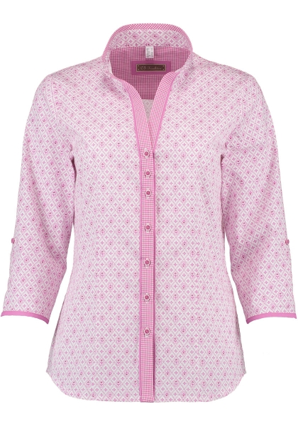 Trachtenbluse Rechtmehring himbeere pink 7/8 Arm OS Trachten