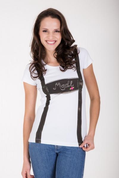 Trachten T-Shirt Suspender weiss Krüger