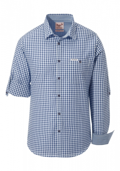 B-Ware / 2. Wahl - Trachtenhemd Campos3 blau Comfort Fit Karo Langarm Krempelarm Stockerpoint