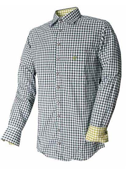Trachtenhemd John dunkelgrün Karo Langarm OS Trachten