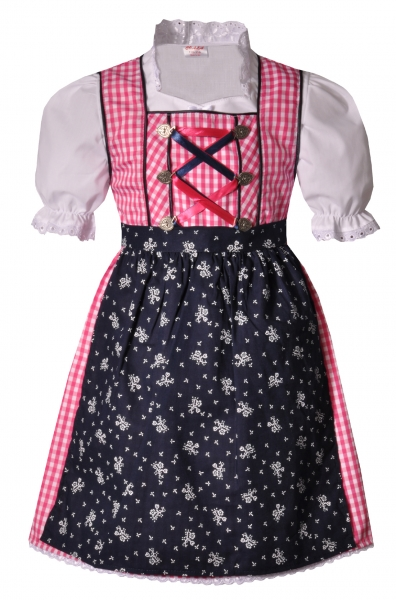 Kinderdirndl Eisenheim pink dunkelblau 3-tlg. Trachtenset