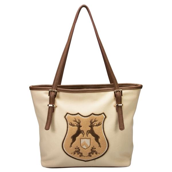 Trachten-Handtasche Hirschwappen beige
