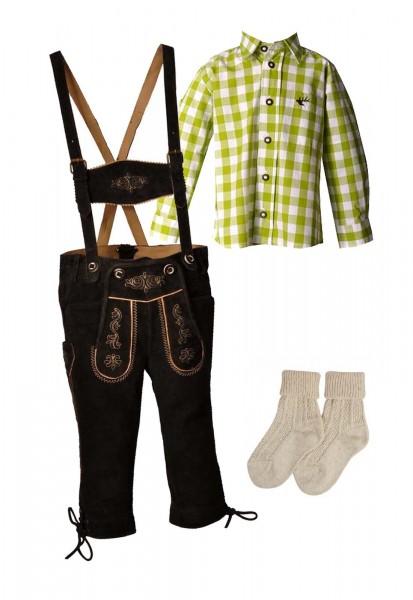 Kinder Trachtenlederhosen-Set 4-tlg. kniebund dunkelbraun von Lekra mit grünem Hemd von OS Trachten