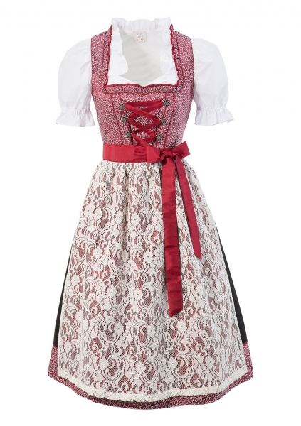 B-Ware / 2. Wahl Dirndl lang 75 cm Herrngiersdorf weinrot rot Trachtenset 3-tlg. Naber Collection