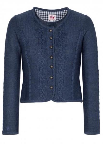 Trachten Strickjacke Trachtenjacke Bonn blau jeansblau Merino Spieth & Wensky
