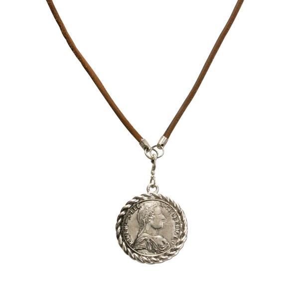 Trachten Halskette Lederband Münzanhänger altsilber-farben