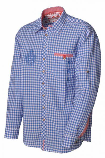 Trachtenhemd Lionel Langarm blau Karo OS Trachten