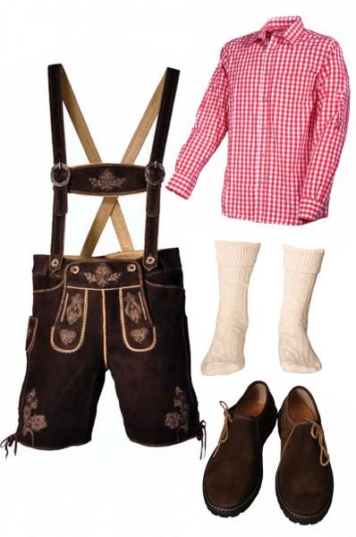 Trachtenlederhosen-Set 5-tlg. kurz dunkelbraun mit rotem Hemd und Schuhen von Fuchs
