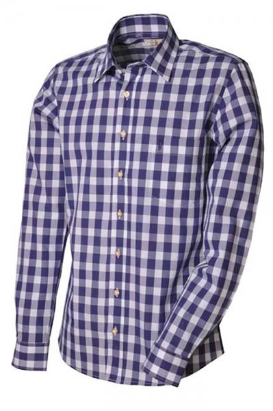 Trachtenhemd Gregor jeansblau slim fit Almsach