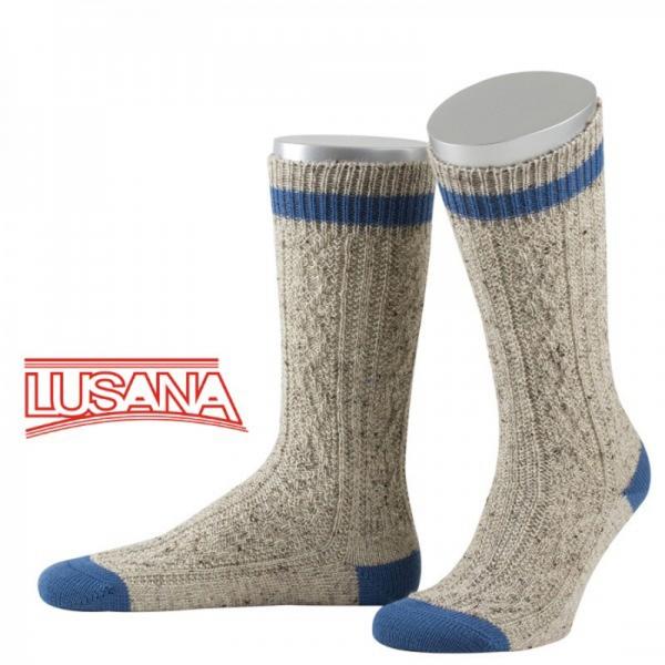 Trachtensocken Engelsberg Loden-Tweed beigemeliert/mittelblau Lusana